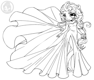 Disney Frozen Elsa Chibi Lineart by YamPuff