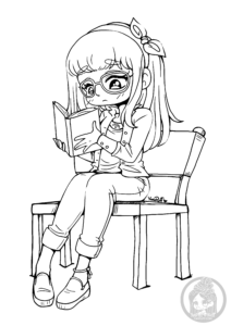 girl reading yampuff chibi lineart - Coloring Stuff