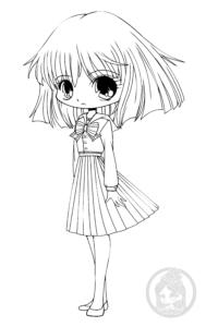 Hotaru Tomoe Sailor Saturn Chibi Lineart by YamPuff