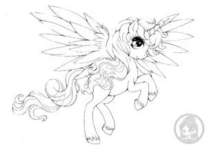 alicorn pony lineart yampuff