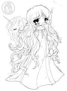The Last Unicorn, Lady Amalthea, Chibi Lineart by YamPuff