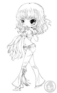Britney Spears chibi lineart by YamPuff