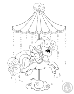 cloud carousel pony lineart by yampuff