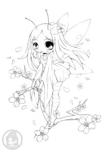 Cherry Blossom Fairy Lineart by YamPuff