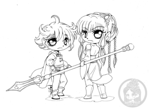 Chibi elves lineart by YamPuff