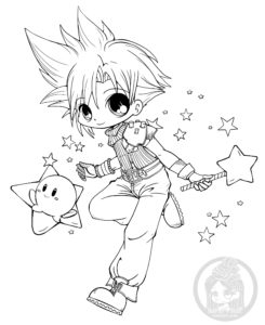 Cloud and Kirby chibi lineart by YamPuff