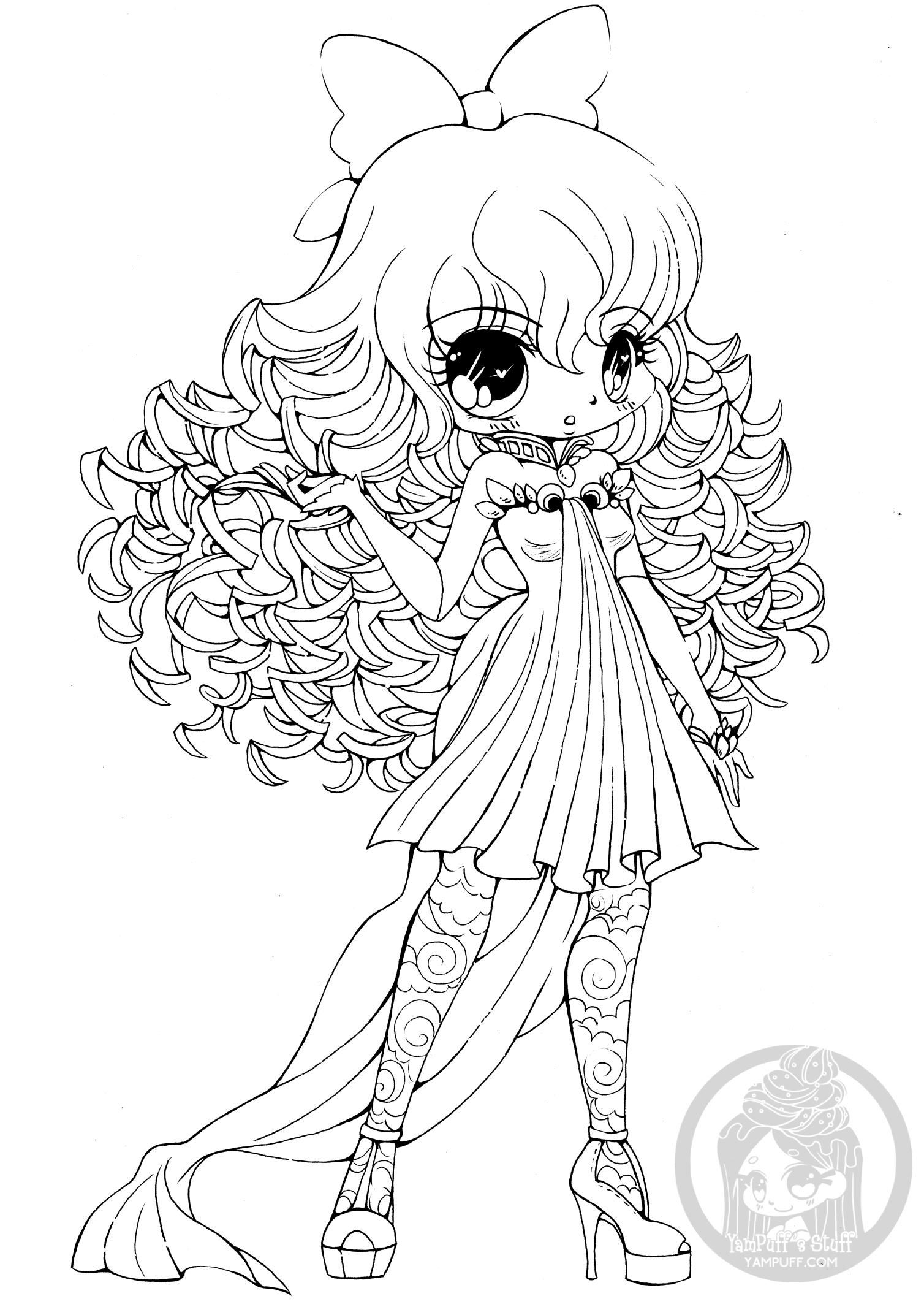 - Curly Haired Girl Chibi Lineart By YamPuff • YamPuff's Stuff