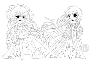 Day and Night Chibi Linearts by YamPuff