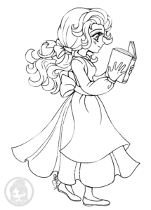 Disney's Belle chibi lineart by YamPuff