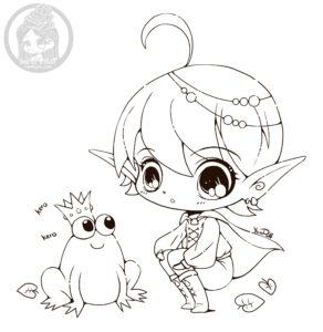 Elf and Frog Chibi Lineart by YamPuff