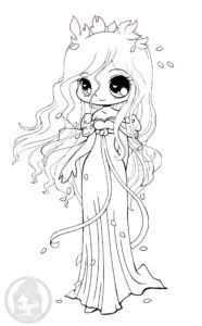 Disney's Giselle Chibi lineart by YamPuff
