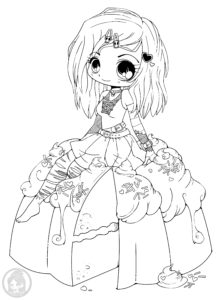 Goth Chibi On Cake Lineart by YamPuff