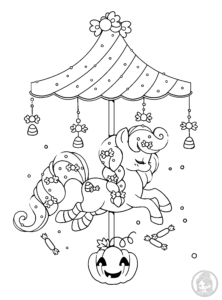 halloween carousel pony lineart by yampuff