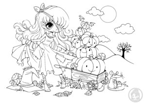 Halloween chibi with pumpkins lineart by YamPuff
