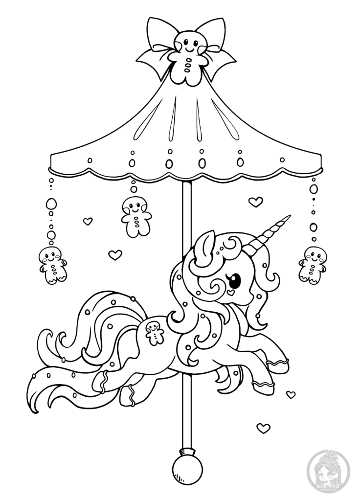 holiday carousel pony lineart by yampuff - Line Art Coloring Pages