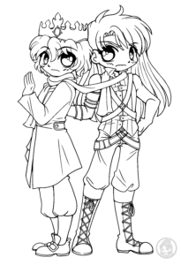 Prince and companion chibi lineart by YamPuff