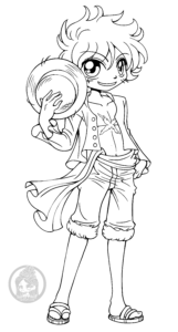Luffy one piece lineart by yampuff