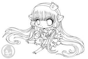 Chi of Chobits by CLAMP chibi lineart by YamPuff