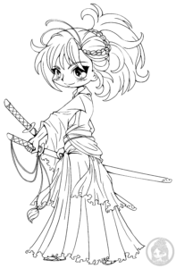 Musashi Miyamoto chibi lineart by YamPuff