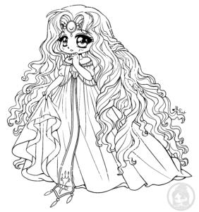 Princess Emeraude Rayearth chibi lineart by YamPuff