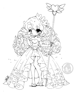 Queen of Hearts chibi lineart by YamPuff