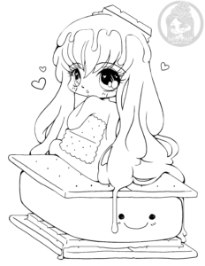 S'more girl chibi lineart by YamPuff