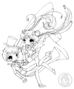 Sailor moon and tuxedo mask chibi lineart by yampuff