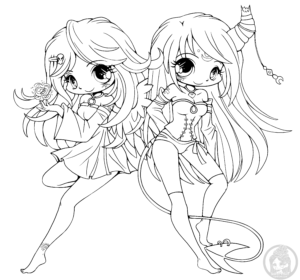 Devil and angel chibi lineart by YamPuff