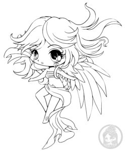 One winged angel chibi lineart by YamPuff