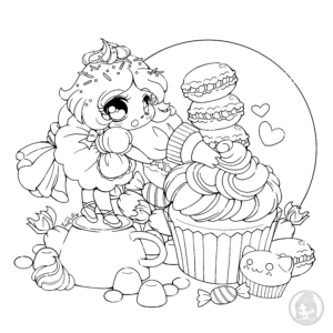 Chibi frosting fairy with macarons by YamPuff