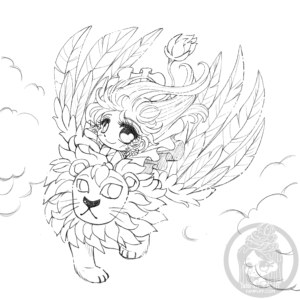 Diana and the winged lion lineart by YamPuff