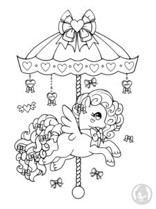 valentines day carousel pony lineart by yampuff