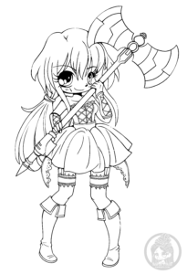 Chibi with pigtails and battle axe by YamPuff