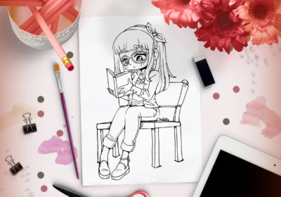 Reading Girl Lineart – New Lineart Up!