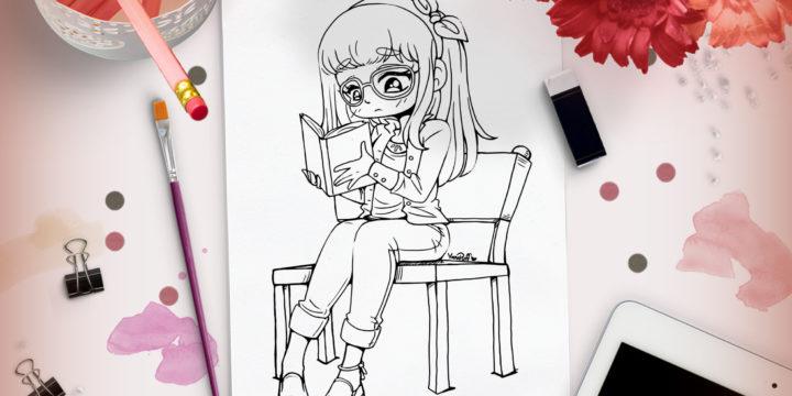 Reading Girl Lineart – New Lineart Up!