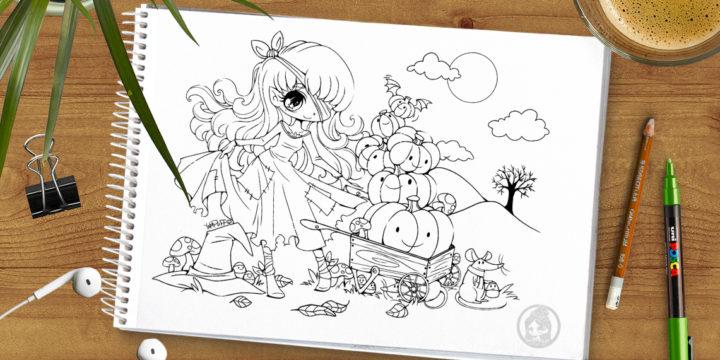Halloween Pumpkin Princess Lineart